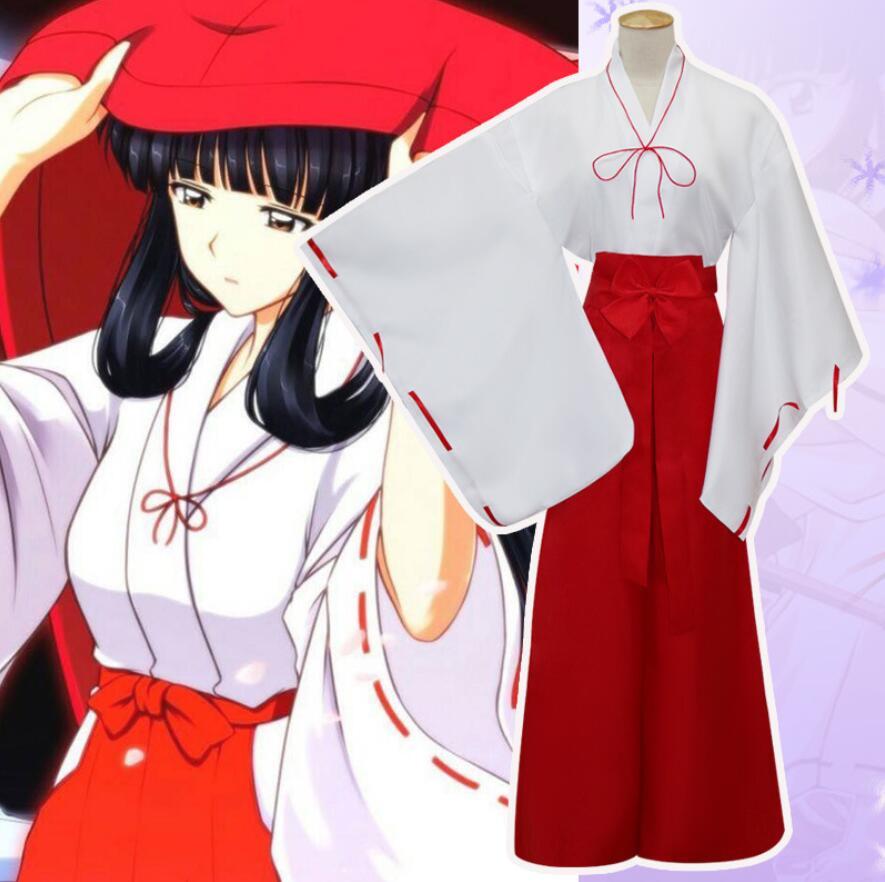 Anime Inuyasha cosplay Kikyo cos Japanese Kimono Witch Red Samurai Halloween cosplay For Woman Costumes Top+Pants+belt