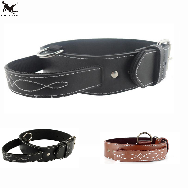 [TAILUP] Big Dog Collar PU Läder Stark Hund Collar Leash With Handle PU Svart Brown Pet Dogs Leash Collar CLPU01