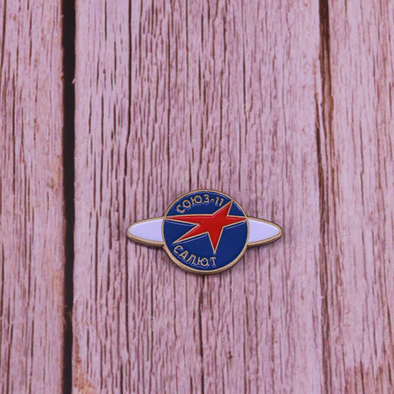 Soviet Pin Salute Soyuz 11 Program Ruang Lencana Uni Soviet Vintage Merah Bintang Bros Cosmos Perhiasan