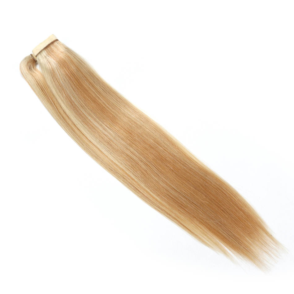 Ali Beauty P27/613 Human Hair Ponytails Clip In Hair Extensions 24 Inches Wrap Around Ponytail Ombre Remy European Straight Hair Hair Extensions & Wigs