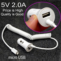 New Quality 5V 2A USB Car charger with micro USB Cable For GPS & smartphone & Car DVR