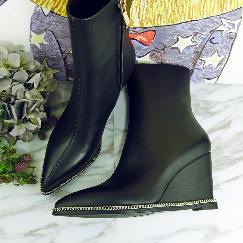 ФОТО Handsome Side Zipper Ankle Boots Sexy Pointed Toe Platform Wedges Shoes High Heeled Hot Autumn Winter Boots 2016 Boots For Women