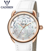 CADISEN Luxury Fashion Women S Watches Unique Design Bracelet Genuine Leather Rhinestone Wrist Watches Relogio Feminino