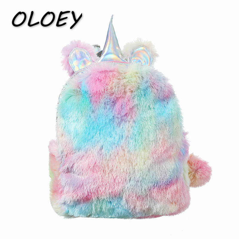 Kids Unicorn Plush Backpacks Young Girls Cute Cartoon Doll Bags Children Book Schoolbags Mini Autuam Winter Bags#Kids Unicorn Plush Backpacks Young Girls Cute Cartoon Doll Bags Children Book Schoolbags Mini Autuam Winter Bags#