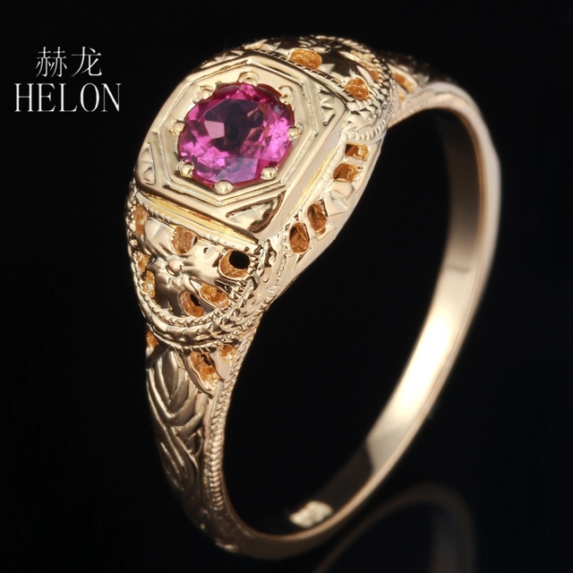 HELON PRETTY ANTIQUE FILIGREE NATURAL TOURMALINE ART DECO VINTAGE RING SOLID 14K YELLOW GOLD WOMEN'S JEWELRY FINE RING