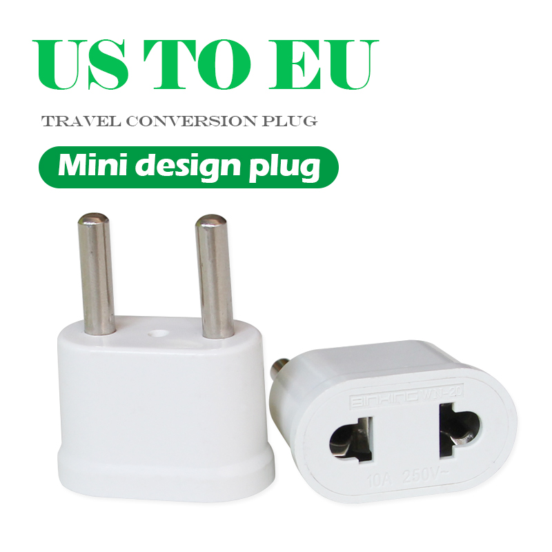 1pc 250V/2.5A US To EU Plug Power Adapter Travel Power Plug Adaptor Converter Wall Charger White Color Transform plug Socket