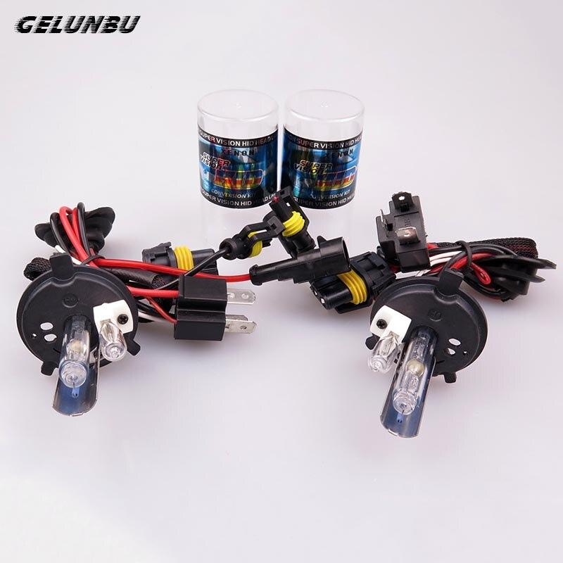 Gelunbu 2 pcs HID Xenon H4-2 55W 12V 6000k Bulb Hi/Lo Auto Car Headlight Lamp with Halogen Bulb Car Light Source Fog Lights