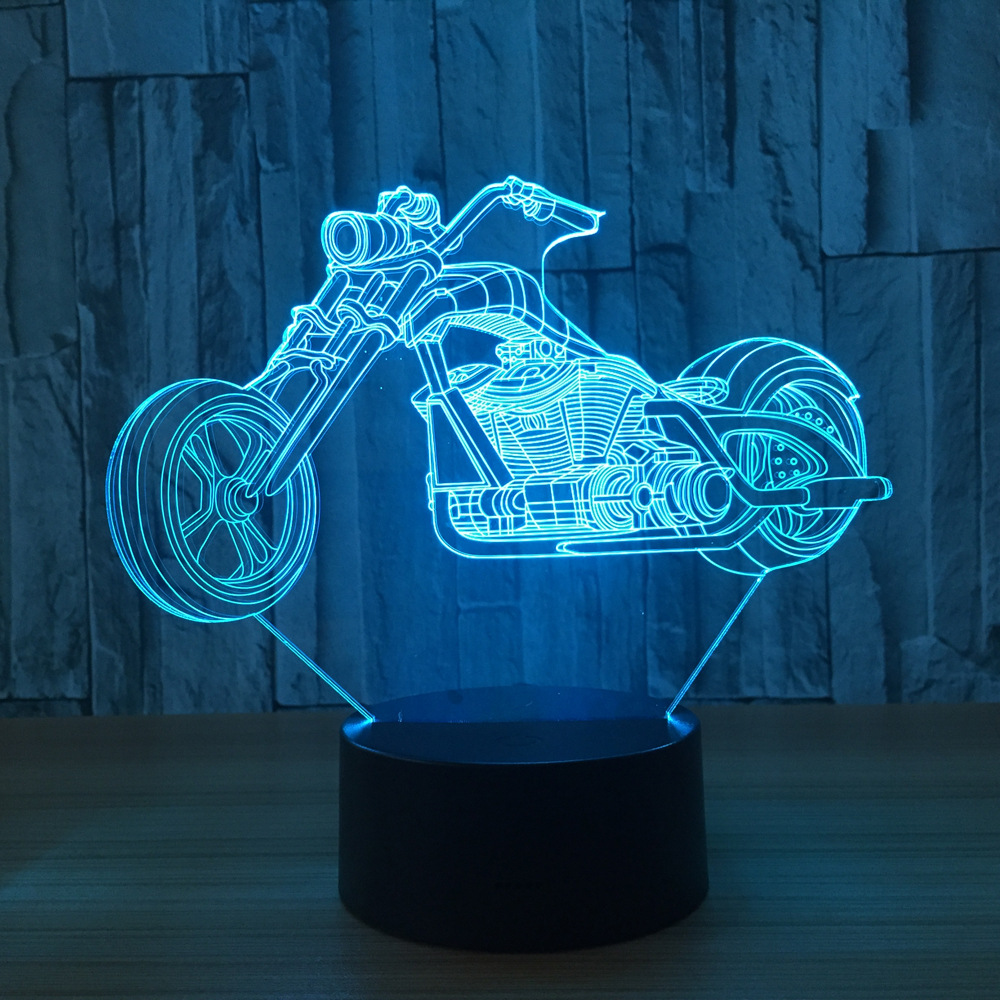 3d Design Motorcycle Night Light Home Decoration 7 Color