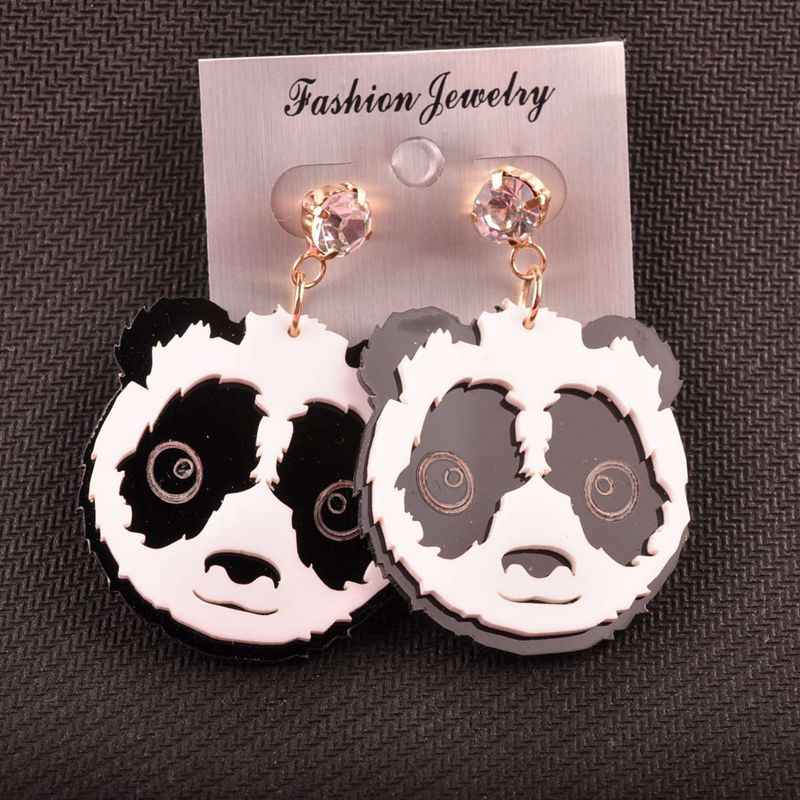 Fashion Popular Personality Animal Jewelry Hip Hop Acrylic Panda Stud Earrings For Women Hot Sale