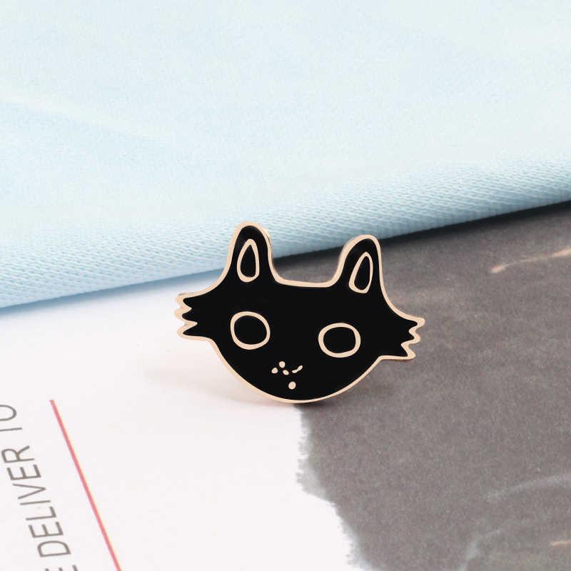 패션 동물 브로치 여성 핀 1 pc 블랙 화이트 고양이 열 물고기 뼈 금속 핀 옷깃 자켓 드롭 오일 액세서리 커플 배지