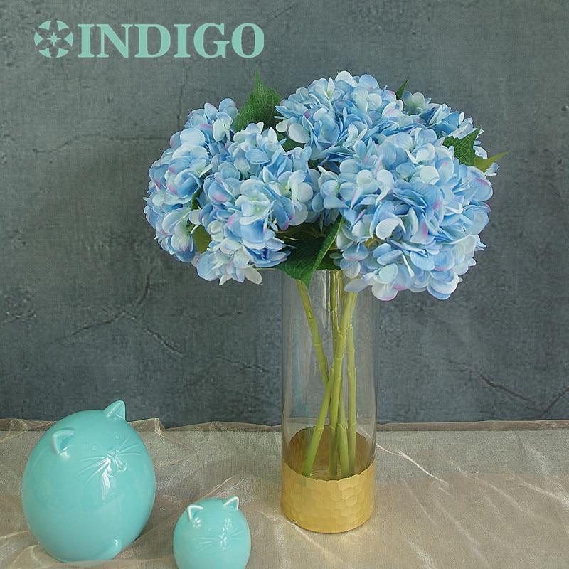 INDIGO- 5st blauwe hortensia met bladeren Flower Hydrange mooie bruiloft bloem Floral evenement partij tabel bloem gratis verzending