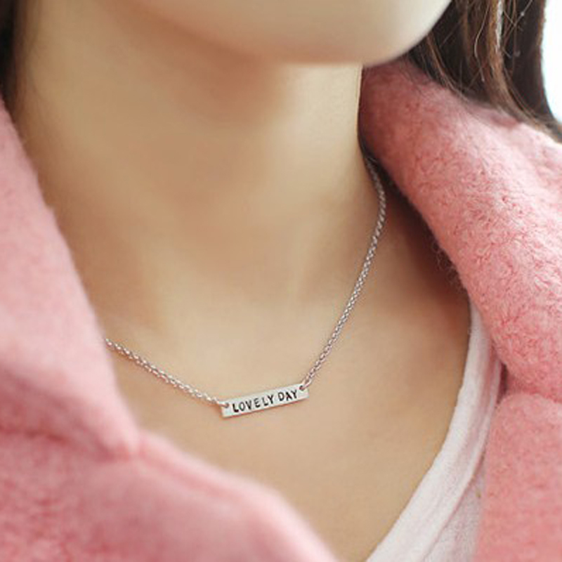 Wholesale Sterling Silver Mini Bar Necklace Personalized Engraved Name Necklace Fashion Pendent BFF Gift