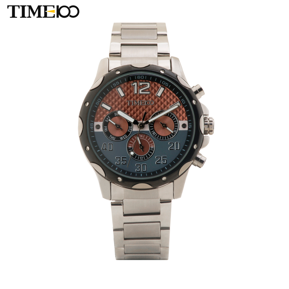 Free Shipping TIME100 Business Stainless Steel Strap Multifunctional Chronograph Waterproof Quartz Men Wrist Watches#W50329G.01A 4 time100 w40109m