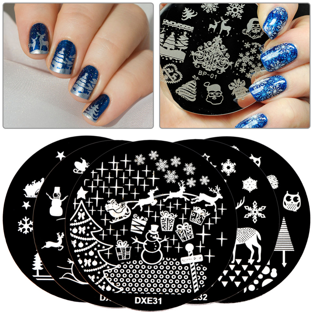 ELECOOL 29 Styles Christmas Series Nail Plates Art Stamp Scraper Stamping Template Picture Stainless Steel Nail Stamp Plate Tool stainless steel nail art diy plate silver