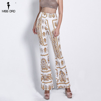 Missord 2018 Sexy OL High Elastic Waist Trousers Wide Print Leg Pants FT18505