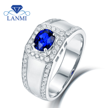 Luxury Design Solid 14K  585 White Gold Natural Blue Tanzanite Wedding Men's Rings Engagement Diamond Jewelry for Dad Gift