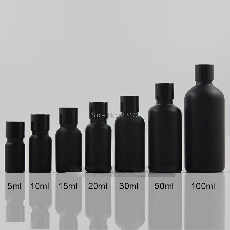 5 ml, 10 ml, 15 ml, 20 ml, 30 ml, 50 ml bouteilles en verre vides bouchon noir avec brosse bouteilles d'huile essentielle noire flacons cosmétiques vides