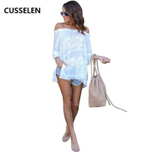 White Shoulder Off Women Tops Boho Shirts Loose Beach Women Summer Blouse Casual Sexy Slash Neck Blusas De Manga Curta NEW