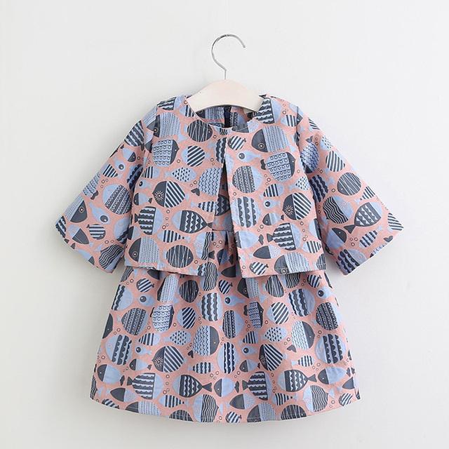 NOVA Spirng 2017 roupas Infantis criança crianças conjuntos de roupas de bebê meninas moda padrão de peixe 2 pcs conjuntos de roupas meninas primavera conjunto