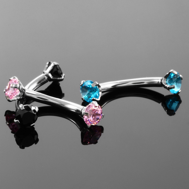 1pc Steel Eyebrow Rings 16G Internally Threaded Earring Tragus Crystal Eyebrow Ring Curved Barbell Piercing Double Gems 10Colors 4
