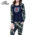 TLZC 3 Pieces Women Camouflage Suit Lady Clothing Set Zipper Coats + Tees + Pants Plus Size M-4XL Women Fashion Suit