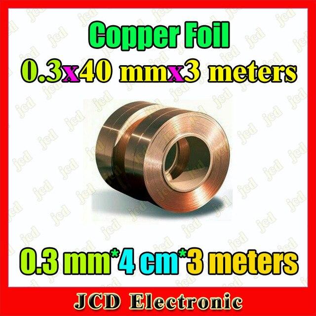 Bande de cuivre, 0.3mm * 40mm * 3 mètres, épaisseur 0.3mm 40mm large bande de cuivre 3 mètres de long 0.3mm * 4cm * 3 mètres