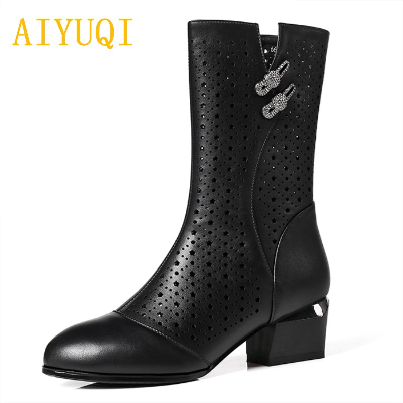 Aiyuqi 2019 여름 메쉬 통기성 여성 부츠, 정품 가죽 패션 여성 쿨 부츠, 브랜드 신발 여성 승마 부츠-에서미드 카프 부츠부터 신발 의  그룹 1