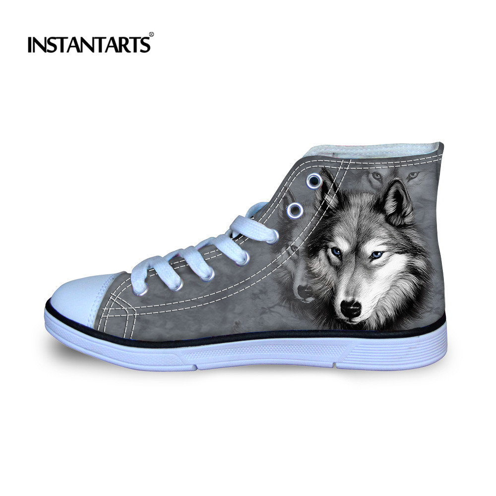 INSTANTARTS 3D Animal Printed Wolf Children Flat Shoes Comfort High Top Canvas Shoes For Girls Boys Kids Autumn Lacing Sneakers