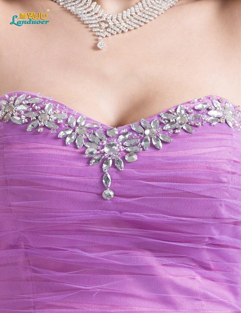 Vestido de bola beads lila short prom dress sweetheart tulle fluffy ...