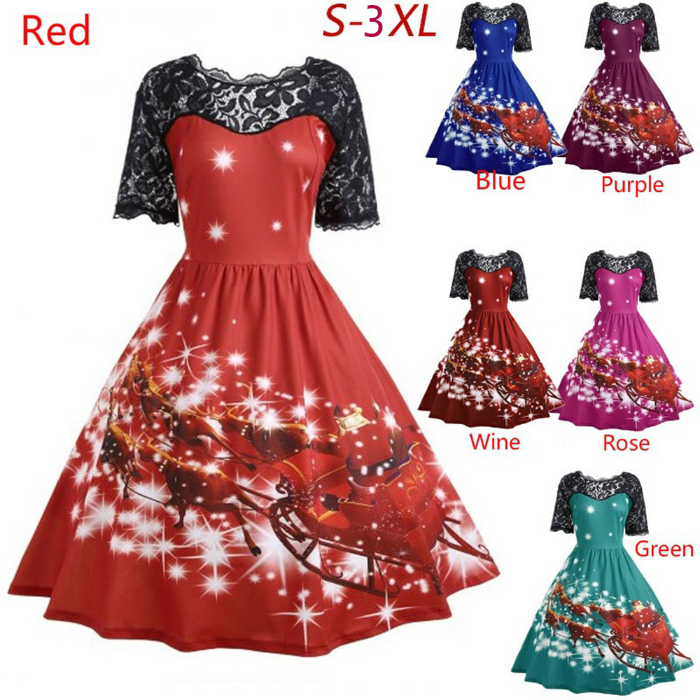62f6d68ce808 Kenancy 3XL Christmas Print Lace Women Vintage Dress Plus Size Hepburn  Retro Rockabilly Swing Dress Feminino Robe Party Vestidos-in Dresses from  Women's ...