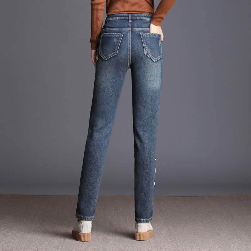 Denim Cintura De 40 Pantalones 2018 Invierno Alta Terciopelo Lápiz Cálido Fqz59b Más 26 Jeans Tamaño Gratis Mujeres Blue Envío Bordado zv7xwSgwq