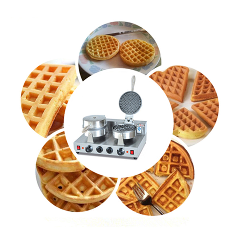 Double pan waffle baking making machine stainless steel
