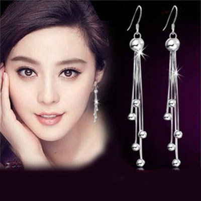Mode høj kvalitet kugleøreringe øreringe Retro lange kvastøreringe sølvøreringe smykker forhindre allergi engrossalg