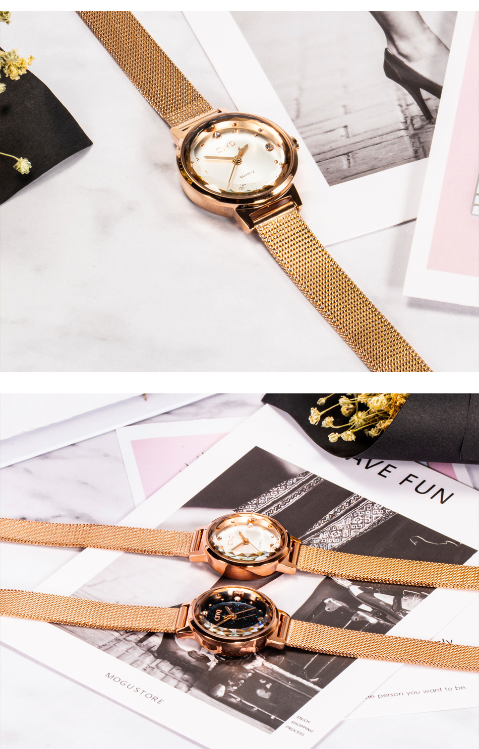 Fashion Women's Blue Face Mesh Band Waterproof Quartz Watch
