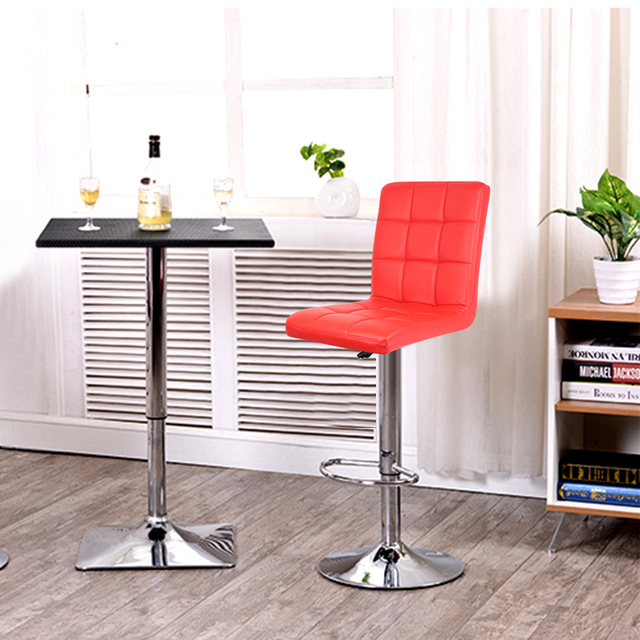 JEOBEST 2PCS/set Kitchen Bar Stools Red Leather Adjustable Bar Chair  Breakfast Swivel Bar Stool