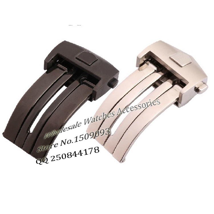 Black silver stainless steel Buckle Deployment 18mm 20mm For brand watchbands men watch Accessories Folding stylish