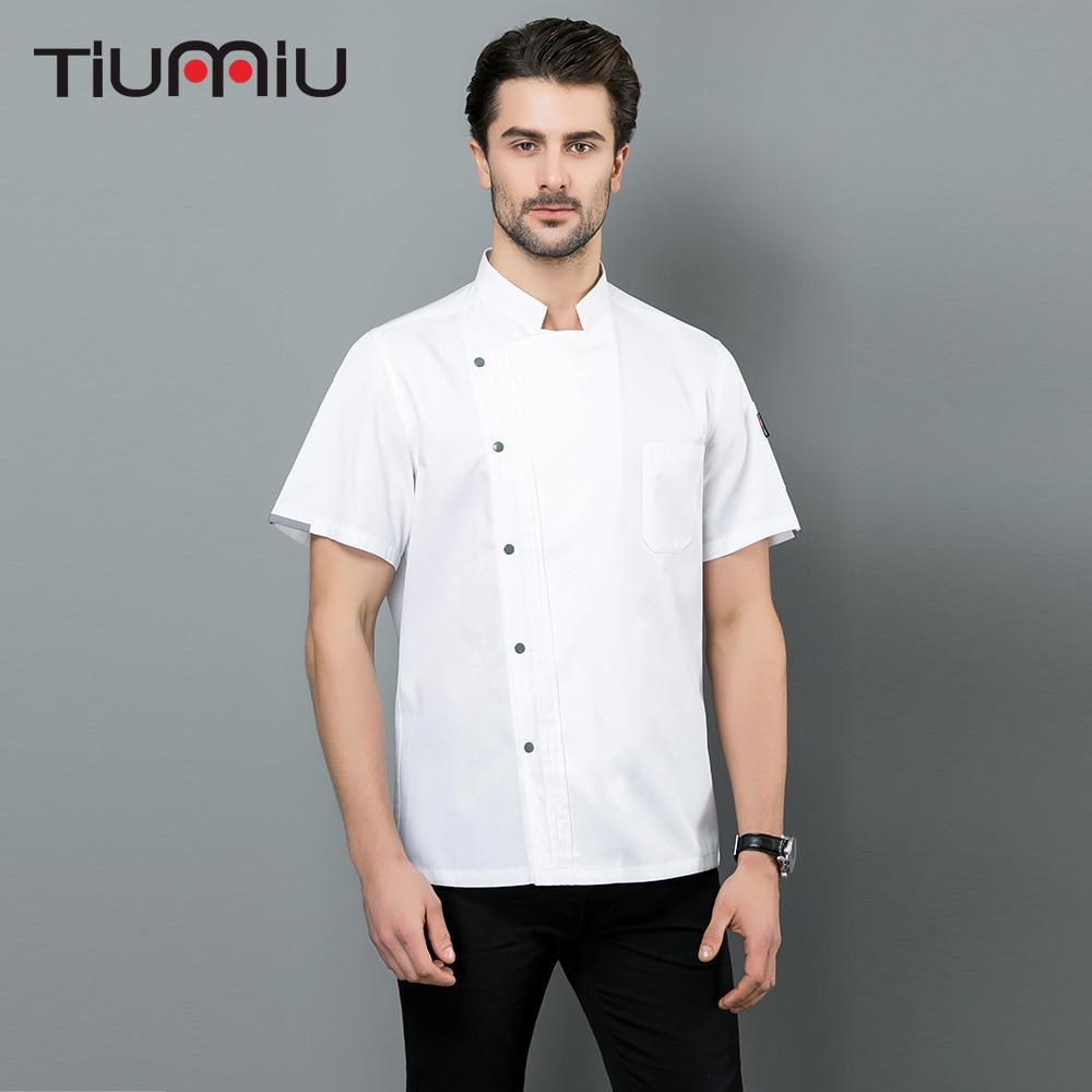 2019 Chef Uniform Short Sleeve Hotel Restaurant Kitchen Cook Workwear Clothes Men Women Professional Chef Jackets Overalls