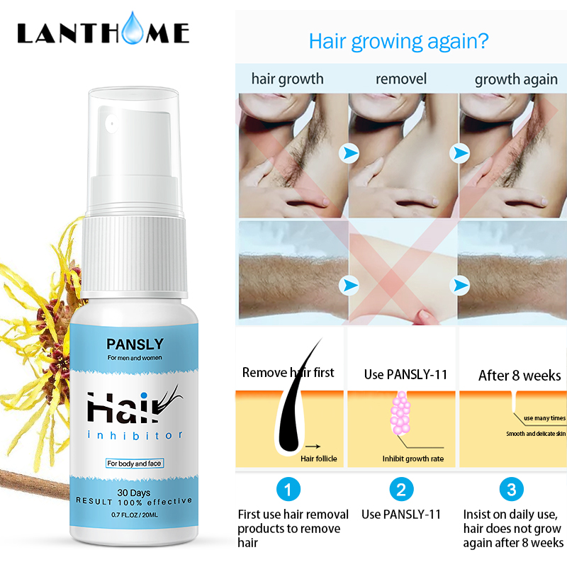 Organic Herbal Permanent Hair Growth Inhibitor Repair Nourish Smooth Body Hair Removal Spray for Private Parts Leg Facial Hair 3