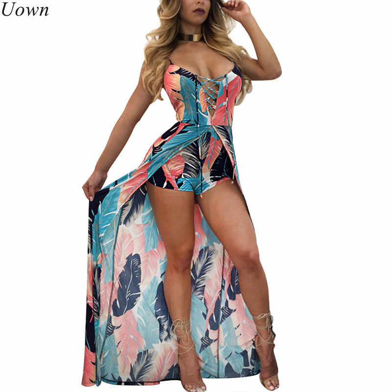 Elegant Boho Strap Beach Jumpsuit Romper Women Backless Lace Up Combishort Femme Ladies Feather Print Playsuits Summer Overalls