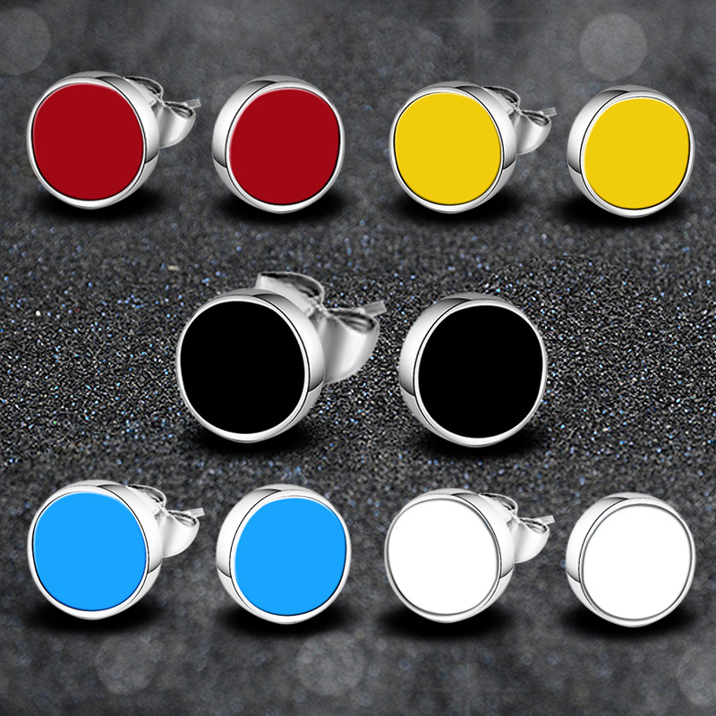 TJP Fashion 925 Silver Women Stud Earrings Accessories Top Quality Female Color Party Jewelry New Trendy Men Earrings Bijou