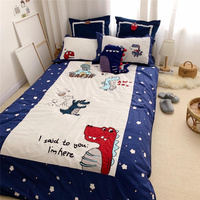 Luxury Egypt Cotton Dinosaur story Cartoon Bedding Set For Kids Embroidery Duvet Cover Sets Bed Sheet Twin Queen Size 4Pcs