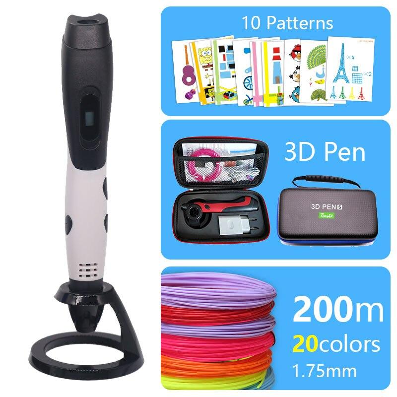 Moda 3d caneta impressora 3d caneta e pla/abs plástico de segurança pode ser usado ao ar livre usb alimentado entrega gratuita saco presente de natal