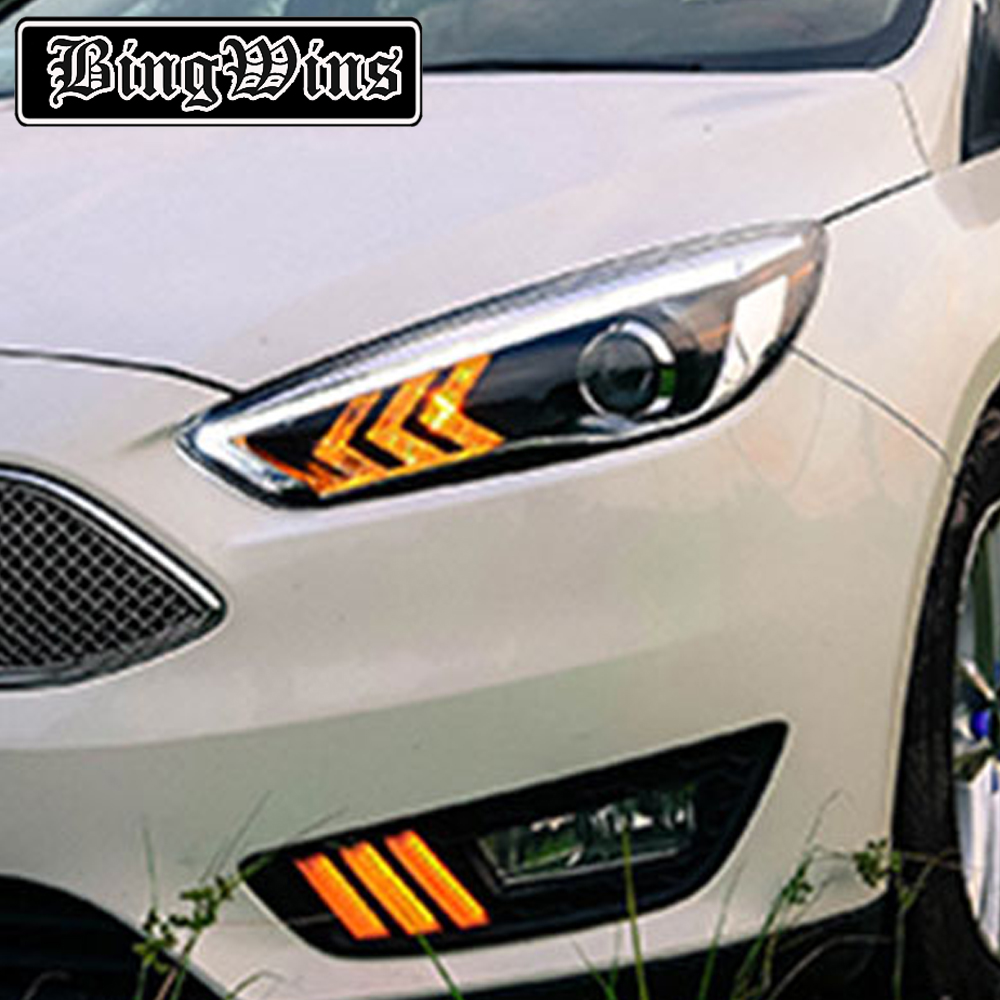 Car Styling For 2015 Ford FOCUS headlights For FOCUS LED head lamp Angel eye led DRL front light Bi-Xenon Lens xenon HID