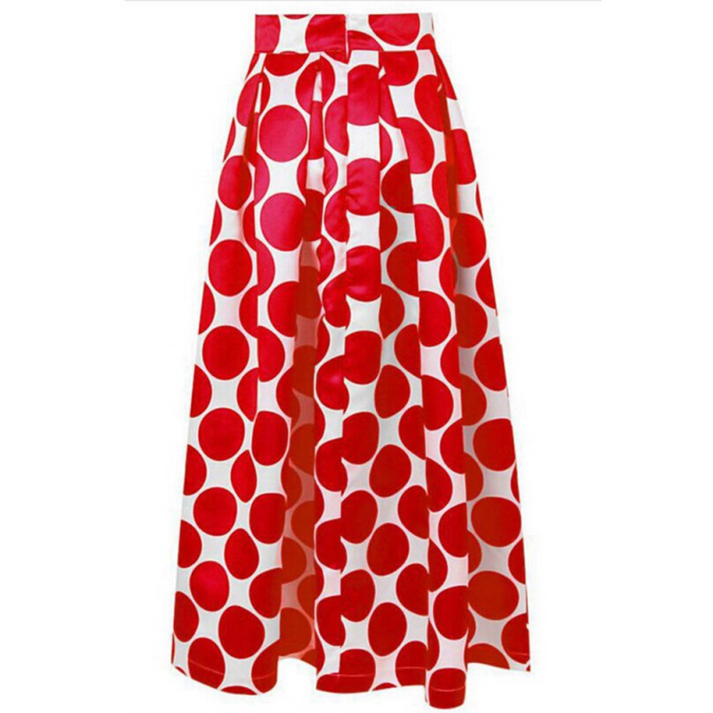 Shipping In Lisa's Store  Summer Women Black And Dot Printing Maxi Vintage Saia Longa  Long Skirt Lady Pompon Skirts Red Blue Black S-2XL WD46