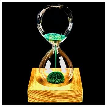 Venda quente de madeira + vidro + ferro pó de ferro da areia ampulheta ampulheta magnético com embalagem de floração 13.5*5.5 centímetros assento de madeira 8