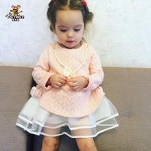 Новинка года, весенне-осенние свитшоты для девочек, детская модная верхняя одежда с жемчужным бантом и ожерельем, теплое платье для девочек 2-7 лет