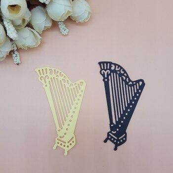 Troqueles de corte de instrumento de concierto Harp Misic, troqueles de Metal para álbum de recortes, sellos para estampado y troquel para hacer tarjetas DIY