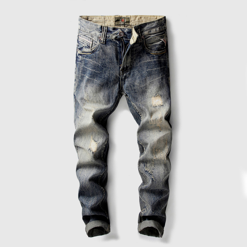 High Quality Fashion Classical Mens Jeans Slim Fit 100% Cotton Denim Ripped Jeans Men Patch Pants Brand Biker Jeans Homme ...
