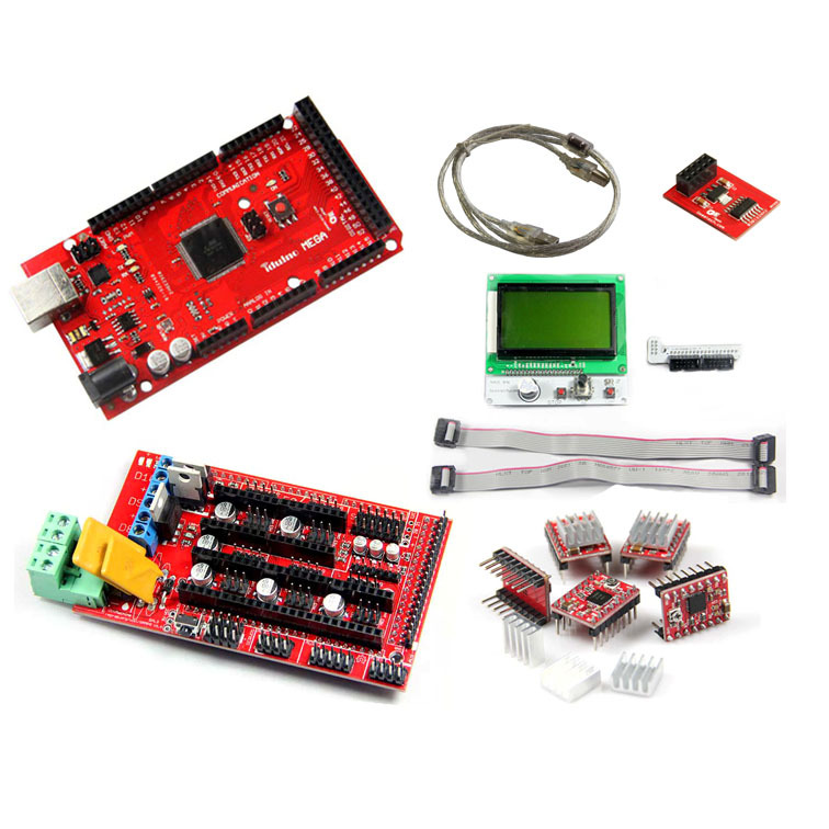 ФОТО Geeetech 3D Printer kits-Mega R3,RAMPS1.4,A4988 stepper driver & Heatsink,square LCD12864 Smart Controller,SD RAMPS Breakout