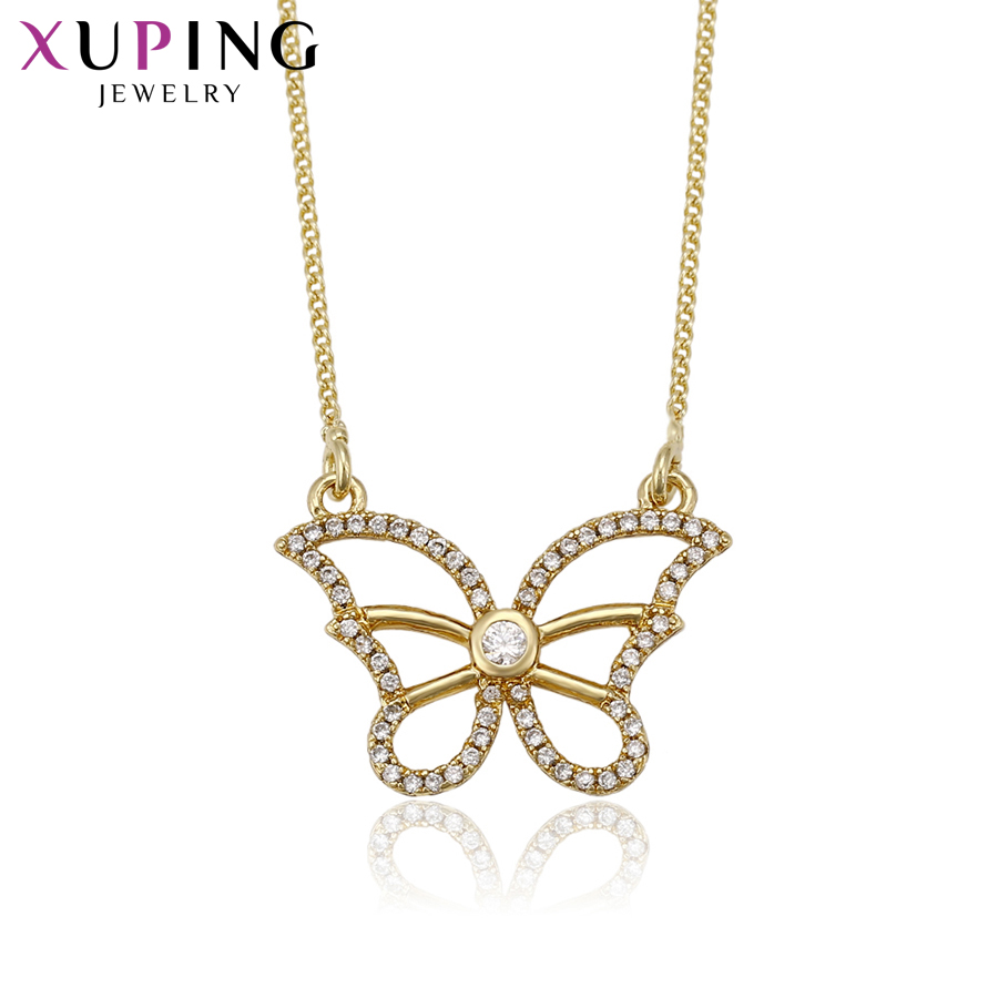 11.11 Xuping Fashion Butterfly Pattern Pendant Necklace With Synthetic CZ Jewelry for Women Christmas Day Gifts S70,3-41480
